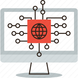 business, computer, data, database, global, networking, technology, transaction icon