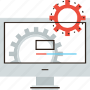 bar, cogs, cogwheel, computer, develop, development, process, progress icon