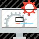 bar, cogs, cogwheel, computer, develop, development, process, progress