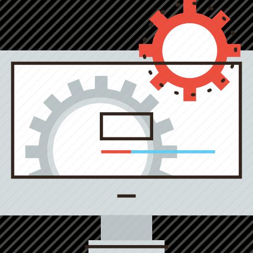 bar, cogs, cogwheel, computer, develop, development, process, progress icon