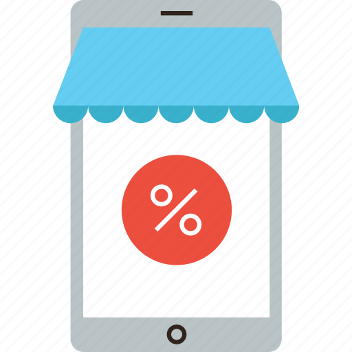 commerce, discount, mobile, online, percent, phone, shop, store icon