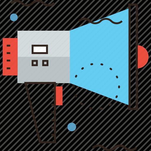 attention, brand, bullhorn, communication, marketing, promo, promote icon
