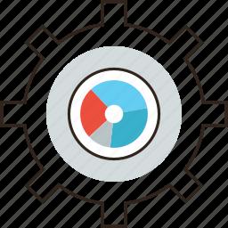 chart, cogwheel, media, optimization, process, resources, work icon