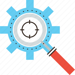 goal, lens, loupe, magnifier, optimization, process, search, target icon