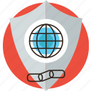 global, internet, protection, secure, security, shield, web icon