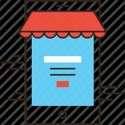 ecommerce, login, market, mobile, phone, shop, store icon