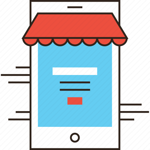 ecommerce, login, market, mobile, phone, shop, store icon