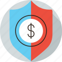 banking, debt, financial, insurance, money, safe, save, security, shield icon
