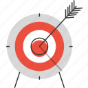 aim, arrow, bullseye, goal, leadership, objective, success, target icon