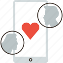 app, couple, dating, flirt, love, mobile, online, phone, sex icon