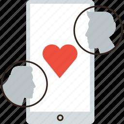 app, couple, dating, flirt, love, mobile, online, phone, sex icon