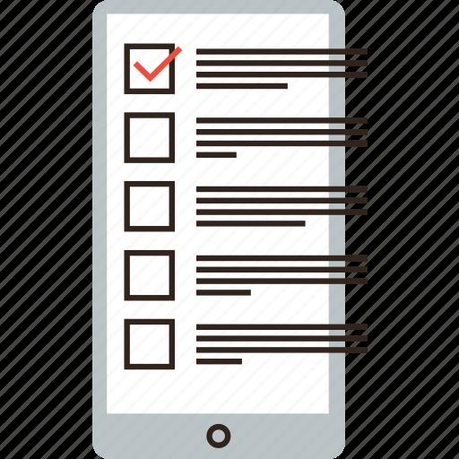 application, check, checklist, form, list, mobile, phone, survey, task, todo icon