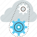 cloud, computing, gear, infrastructure, management, network, platform, service, system icon