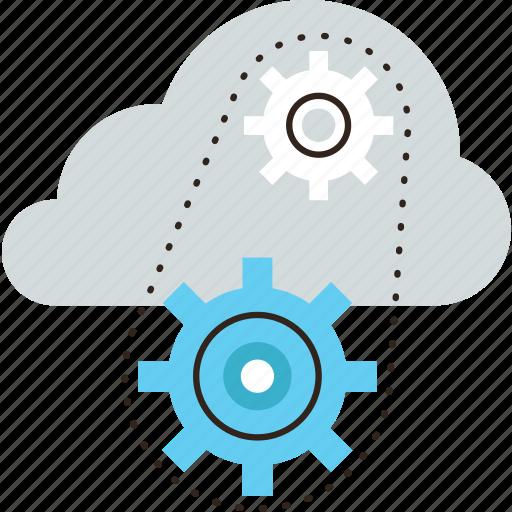 cloud, computing, gear, infrastructure, management, network, platform, service, system icon
