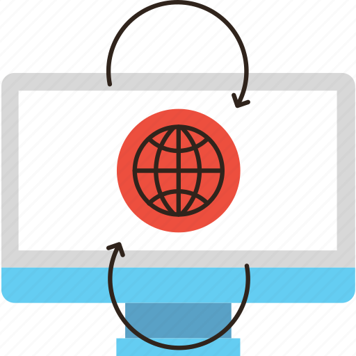 business, computer, flow, global, information, networking, online icon