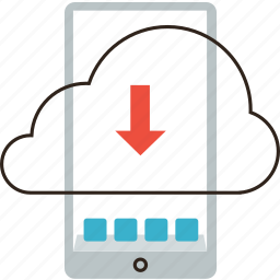 cloud, download, internet, mobile, phone, save, web icon