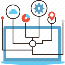 computer, connection, infrastructure, internet, management, of, system, things icon