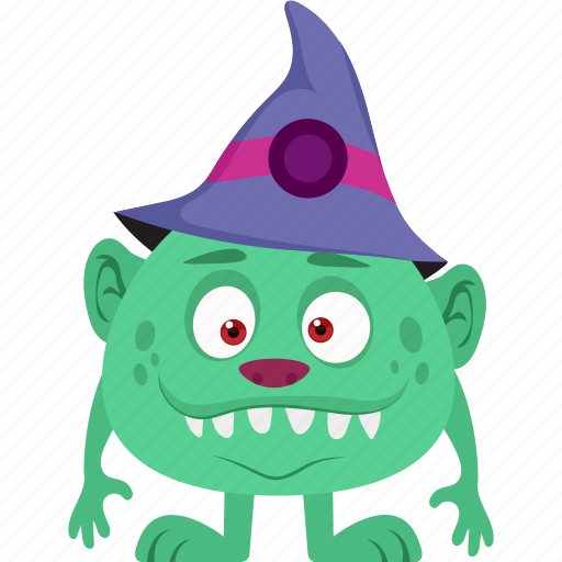 creepy, cute monster, scary character, witch hat, witch monster icon