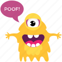 cartoon monster, cyclops, monster screaming, scary cartoon, spooky cartoon icon