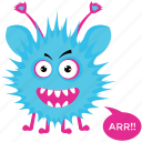 cartoon character, cartoon monster, ghost, goblin, monster growling icon