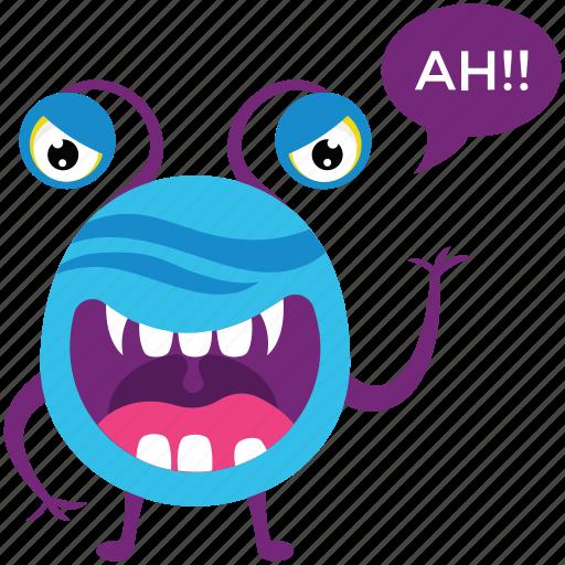 alien monster, cartoon character, cartoon monster, creature, monster growling icon
