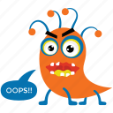 cartoon animal, caterpillar monster, monster growling, scary creature, spooky monster icon