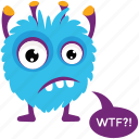 cartoon monster, furry monster, halloween character, monster growling, monster yelling icon