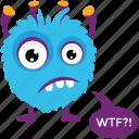 cartoon monster, furry monster, halloween character, monster growling, monster yelling
