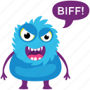 fluffy monster, furry monster, game character, monster emoji, monster screaming icon
