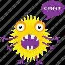 cute cartoon, fluffy monster, gremlin, monster growling, monster screaming icon