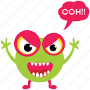 cartoon monster, ghoul, halloween character, monster screaming, spooky cartoon icon