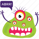 argus panoptes, cartoon character, monster growling, monster with multiple eyes, scary monster icon