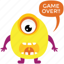 cartoon monster, cyclops, game over, monster screaming, spooky cartoon icon