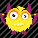 fluffy monster, furry monster, game character, monster emoji, monster screaming icon