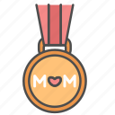 medal, mom, mother, mother's day icon