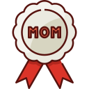badge, mothers day, mother, mom, love, family, ribbon icon