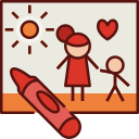 drawing, mothers day, mother, mom, love, family, crayon icon