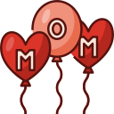 balloons, mothers day, mother, mom, love, family, decoration icon