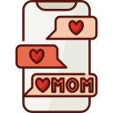 phone, mothers day, mother, mom, love, family, chat icon