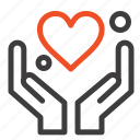 hand, heart, love, motivation icon