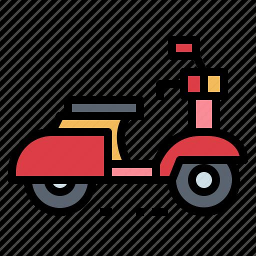 motorbike, motorcycle, transportation, vespa icon