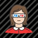 cinema, cinema projetor, girl, girl watching movie, glasses, hd, movie