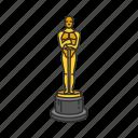 achievement, awarding, cinema, movie, oscar, trophy icon