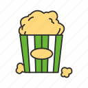 cinema, corn, food, movie, movie snack, popcorn, snack icon
