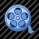 cinema, film, filmstrip, movie, reel film, video, wheel icon