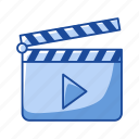board, cinema, clacker, clapboard, clapper, movie, slate board icon