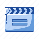 cinema, clacker, clapboard, clapperboard, movie, slate board icon