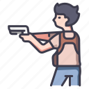 action, adventure, gun, movie, person, pistol, weapon icon