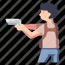 action, adventure, gun, movie, person, pistol, weapon