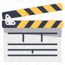 action, board, cinema, clap, clapper, movie, scene icon